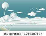 travel over sea of whale family ...   Shutterstock .eps vector #1064287577