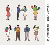 people holding gift boxes.... | Shutterstock .eps vector #1064289464