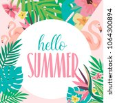 summer card with tropical... | Shutterstock .eps vector #1064300894