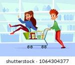 couple riding supermarket... | Shutterstock .eps vector #1064304377