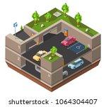 underground multi story car... | Shutterstock .eps vector #1064304407