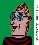 man with broken glasses - stock vector