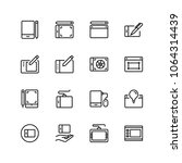 graphic tablet flat icon set....