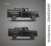 old retro pickup truck vector... | Shutterstock .eps vector #1064316569