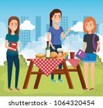 young people in picnic day scene | Shutterstock .eps vector #1064320454