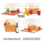 picnic party set products | Shutterstock .eps vector #1064322401