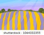 lavender field vector landscape ... | Shutterstock .eps vector #1064332355
