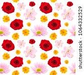 seamless pattern of beautiful... | Shutterstock . vector #1064332529