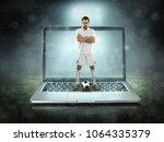 caucassian soccer player in... | Shutterstock . vector #1064335379