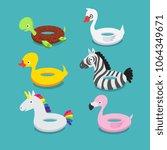 swimming pool floats ... | Shutterstock .eps vector #1064349671