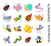 cute and funny bugs  insects... | Shutterstock .eps vector #1064349674