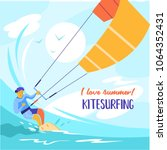 kitesurfing. sportsman...   Shutterstock .eps vector #1064352431