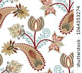 seamless pattern with  paisley... | Shutterstock .eps vector #1064353274