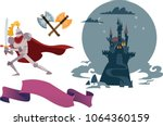 knight and dragon. the comic... | Shutterstock .eps vector #1064360159