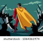 rear view full length... | Shutterstock .eps vector #1064361974
