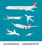 charter flat airplane in... | Shutterstock .eps vector #1064362925