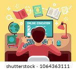 student or school boy studying... | Shutterstock .eps vector #1064363111