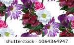 garden flowers seamless pattern ... | Shutterstock .eps vector #1064364947