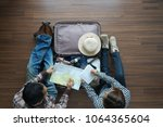 overhead view of traveler's... | Shutterstock . vector #1064365604
