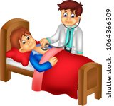 funny doctor cartoon checking...   Shutterstock .eps vector #1064366309