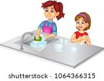 funny mom and girl cartoon wash ...   Shutterstock .eps vector #1064366315