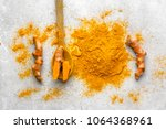 fresh root and turmeric powder  ... | Shutterstock . vector #1064368961