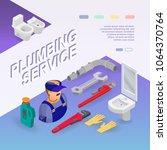 plumbing service. isometric...   Shutterstock .eps vector #1064370764