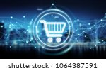 digital shopping icons with... | Shutterstock . vector #1064387591