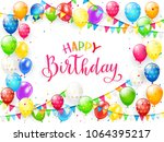 red text happy birthday on...   Shutterstock . vector #1064395217