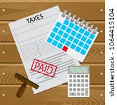 taxes paid on time. taxation... | Shutterstock .eps vector #1064415104
