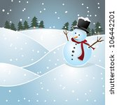 lonely snowman on a hill | Shutterstock .eps vector #106442201