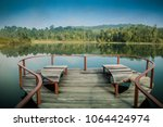 heart shaped seat on the water. ... | Shutterstock . vector #1064424974