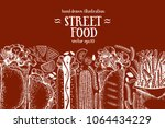 hand drawn fast food banner.... | Shutterstock .eps vector #1064434229