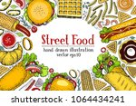hand drawn colorful fast food... | Shutterstock .eps vector #1064434241