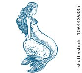 beautiful young mermaid sitting ... | Shutterstock .eps vector #1064436335