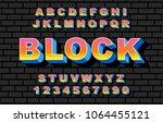 80's retro alphabet font.... | Shutterstock .eps vector #1064455121