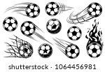 soccer ball icons in motion.... | Shutterstock .eps vector #1064456981