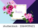 hello summer poster. floral... | Shutterstock .eps vector #1064459621