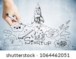 hand drawing creative startup... | Shutterstock . vector #1064462051