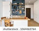 design of modern home kitchen...   Shutterstock . vector #1064463764