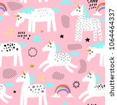seamless pattern with magic... | Shutterstock .eps vector #1064464337