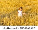 little girl walking in the... | Shutterstock . vector #1064464547