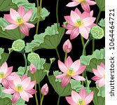 seamless pattern with lotus... | Shutterstock .eps vector #1064464721