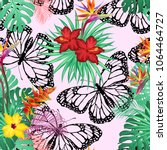 seamless pattern with tropical... | Shutterstock .eps vector #1064464727