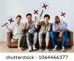workers sitting and holding... | Shutterstock . vector #1064466377