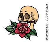 old school rose tattoo with... | Shutterstock .eps vector #1064469335