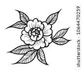 tattoo pion or rose flower... | Shutterstock .eps vector #1064470259
