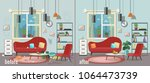 living room before and after... | Shutterstock .eps vector #1064473739