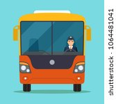 passenger bus with smiling... | Shutterstock .eps vector #1064481041