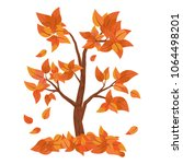 autumn tree with falling leaves ... | Shutterstock .eps vector #1064498201
